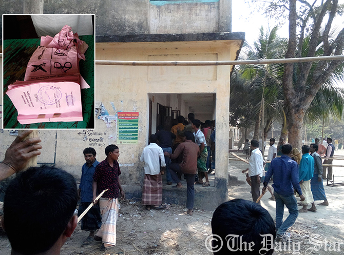 Unidentified attackers are seen with bamboo sticks at Halokhana High School polling centre under Halokhana union in Sadar upazila in Kurigram on Saturday. They looted and destroyed (in-set) ballot papers at polling centre. Photo: Star