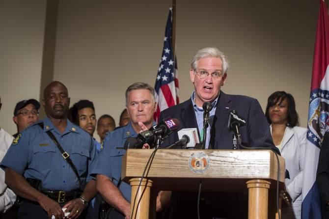 Missouri Governor Jay Nixon declares a state of emergency and curfew in response to looting the previous night in Ferguson, Missouri August 16, 2014. Photo: Reuters
