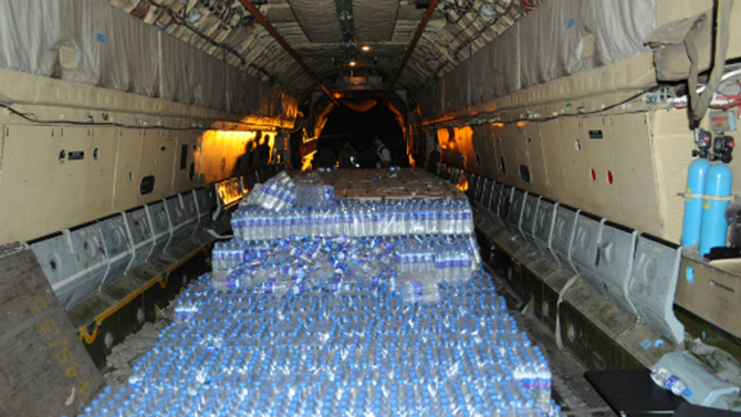 Water supplies flown in to aid the crisis-hit capital of Maldives. Photo: Minivan News