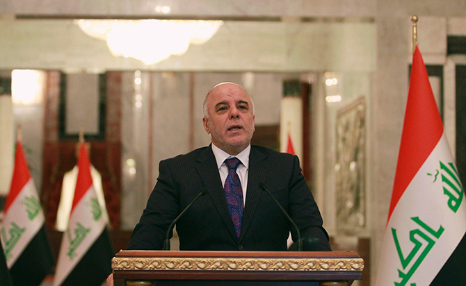 "Iraq's Prime Minister-designate Haider al-Abadi speaks during a news conference in Baghdad August 25, 2014. Abadi on Monday predicted a ""clear vision"" on a new government would emerge within the next two days, state television reported, as the country faces deepening sectarian conflict. Photo: Reuters"