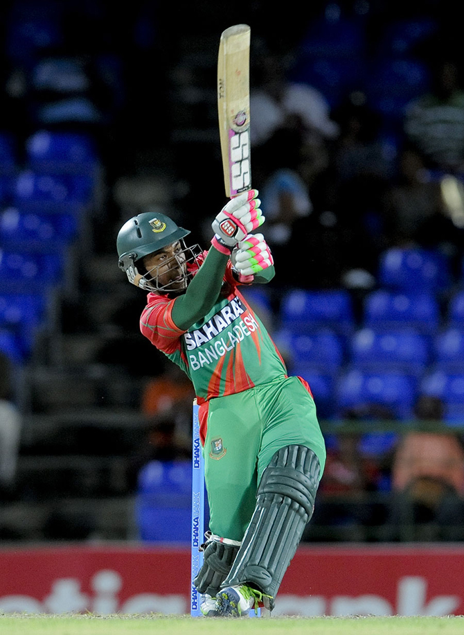 Mushfiqur Rahim fought with 72 off 113, West Indies v Bangladesh, 3rd ODI, Basseterre, St Kitts, August 25, 2014. Photo: WICB Media
