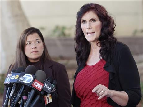This September 20, 2012 AP photo shows Cindy Lee Garcia, right, one of the actresses in the film