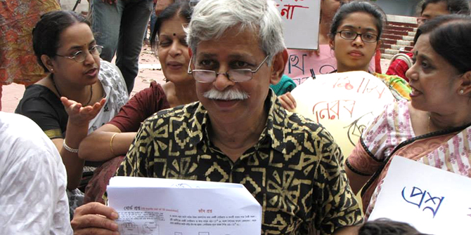 Noted author Prof Muhammad Zafar Iqbal takes part in a sit-in at the Central Shaheed Minar in the capital on Friday in a protest to the recent rise of question paper leak during public examinations. Photo courtesy of Ananta Ahmed