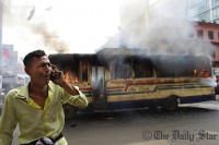 8 vehicles torched in Dhaka, elsewhere