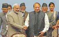 Modi, Sharif shake hands, meet at Saarc retreat